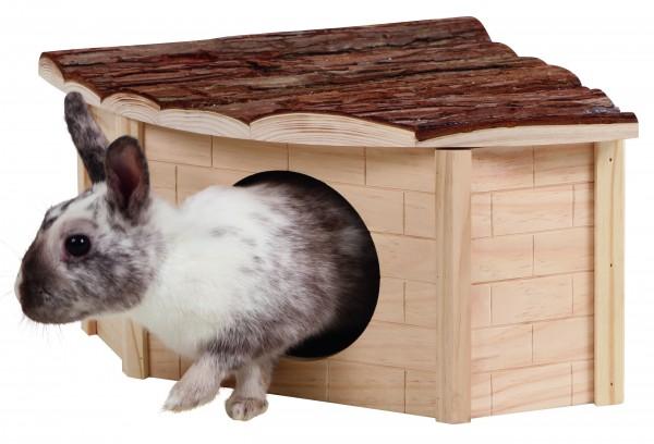 Nagerhaus für die Käfigecke, zu 100% aus Naturholz hergestellt, Dach mit hübscher Rindenverkleidun