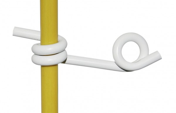 Kunststofföse in der Farbe weiß, Oese für Rund-Fiberglaspfahl 12 mm Durchmesser geeignet für Litze und Draht