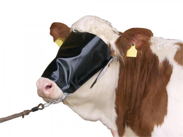 Viehmaske aus Nylon mit Halfter und Kinnkette sowie stabilen Lederriemen