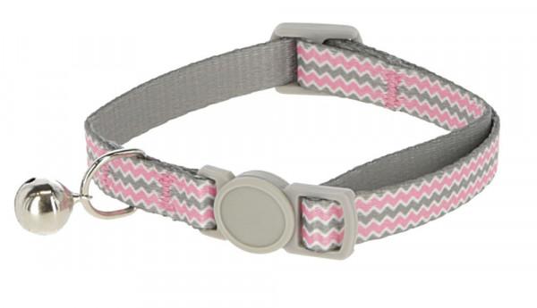 Katzenhalsband Curly mit Glöckchen und Sicherheitsverschluss, rosa