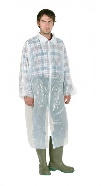 Einwegmantel weiß mit langen Ärmeln und Kragen, Hygienemantel für Besucher bestens geeignet, Stallmantel