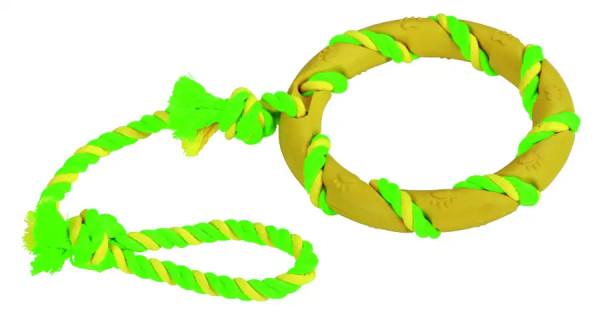 Ring am Seil aus Vollgummi und Baumwolle, zahnfreundlich