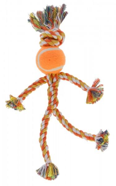 Strichmännchen, Ziehspielzeug aus Baumwolle mit Tennisball, 3 Stück