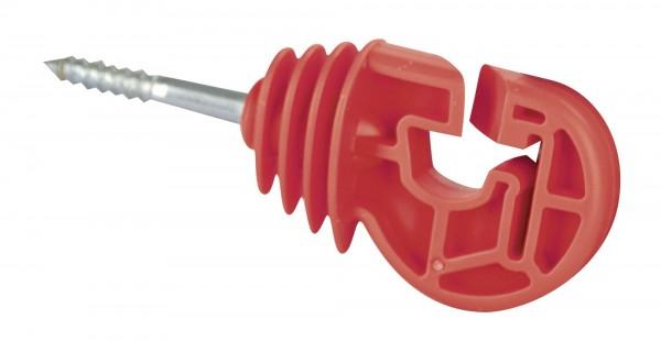 Premium Kombiisolator mit kurzer Stütze, Weidezaunisolator in der Farbe rot, geeignet für Litze, Seil, Draht und Band