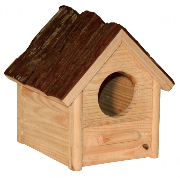 Kleines Holzhaus aus Naturholz für Hamster und Co