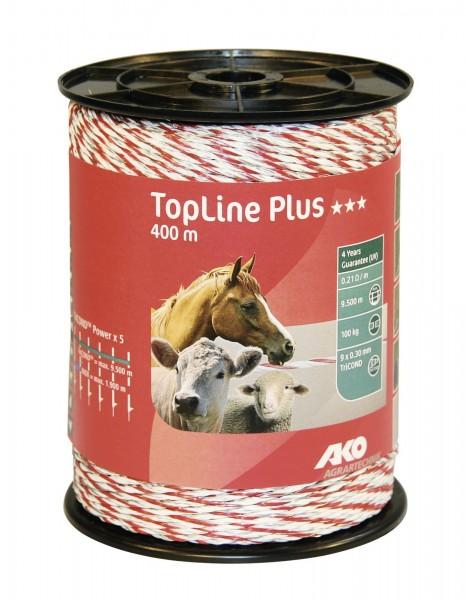 Weidezaunlitze von AKO, TopLine Plus in der Farbe weiß/ rot, 400 m auf einer Spule