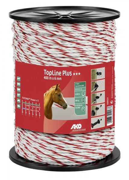 TopLine Plus Weidezaunseil in der Farbe weiß/ rot, 400 m x 6 mm Zaunseil mit TriCOND