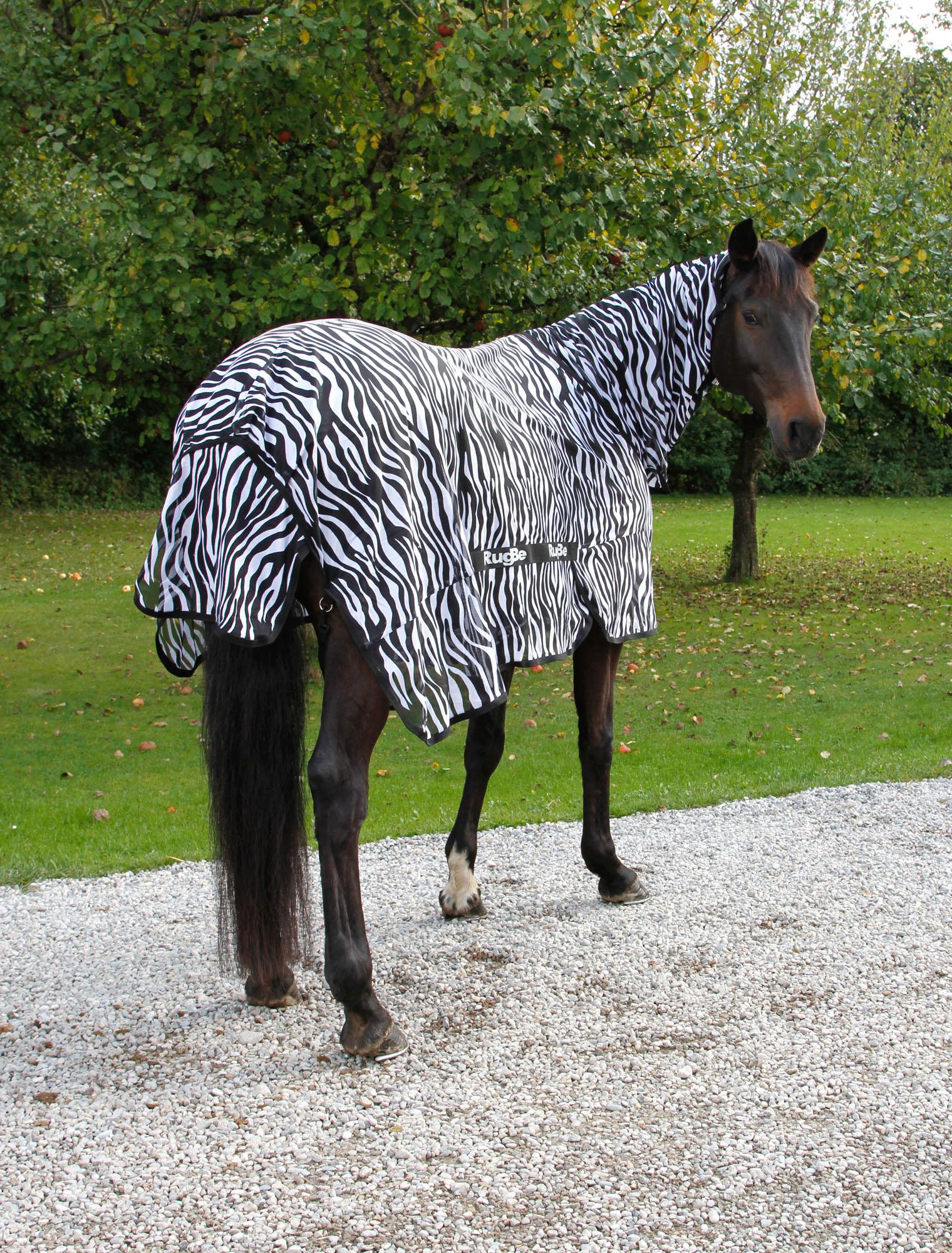 RugBe Zebra Pferdedecke Fliegendecke Ekzemerdecke mit Halsteil Bauchlatz Bremsen