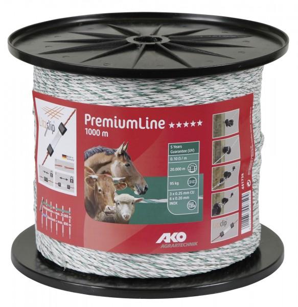 PremiumLine Weidezaunlitze mit dicken PE-Fäden, Farbe weiß/ grün 1000 m, Zaunlitze für Zäune bis 20.000 m