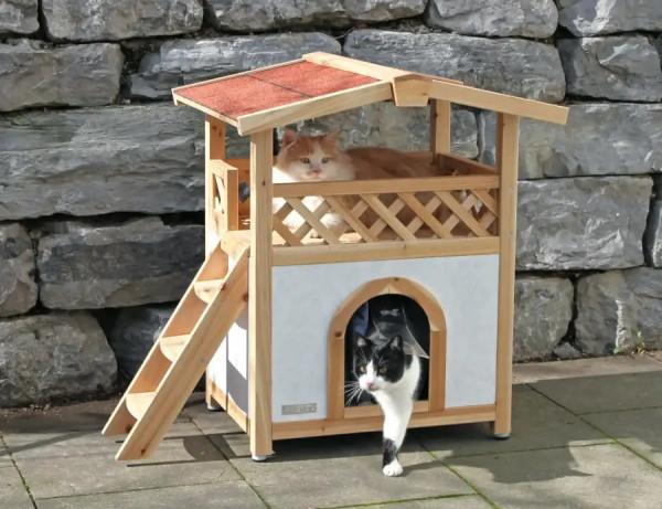 Formschönes 2 stöckiges Katzenhaus mit thermoisoiliertem Untergeschoss und Lamellentür