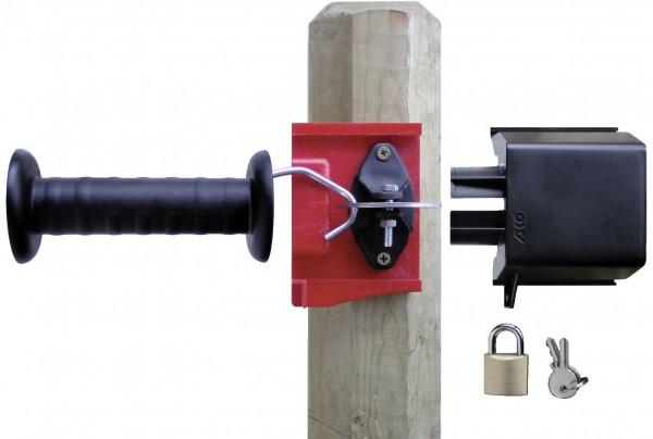 Gate Lock, das abschließbare Torsystem komplett mit schwarzem Torgriff, Sicherheitsgehäuse und Vorhängeschloss