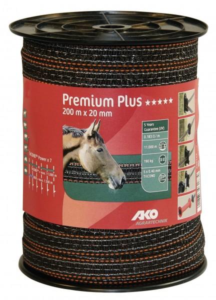 Weidezaunband Premium Plus von AKO, braun/ orange, 20 mm breit mit sehr dicken TriCOND-Leiter