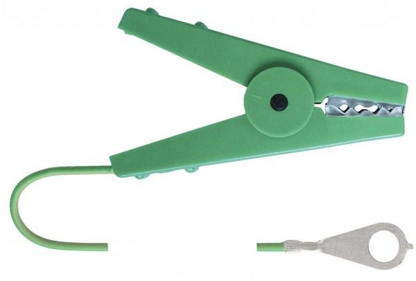 Erdanschlusskabel mit robuster Edelstahl-Krokodilklemme, 100 cm Kabellänge mit M8-Metallöse