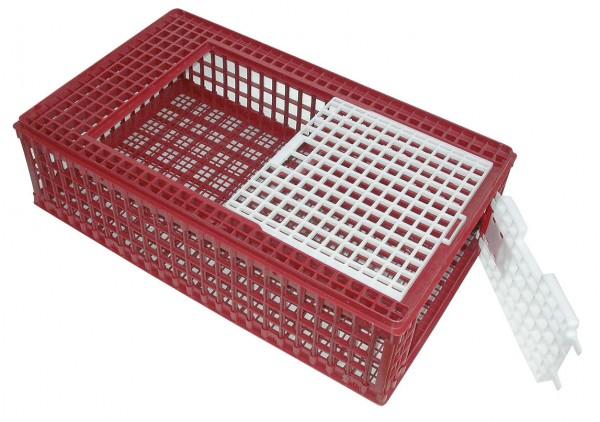 Geflügelkiste aus Kunststoff mit Schiebetür und Seitenklappe, Transportbehälter für alle Geflügel geeignet