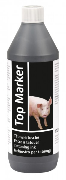 Tätowiertusche 1000 ml schwarz, ideal für Stempel und Tätowierzange, lebensmittelecht und abwaschbar