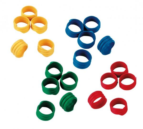 Spiralringe, Geflügelringe zur Kennzeichnung, Ringe in drei Größen erhältlich und in den Farben rot, blau, grün und gelb