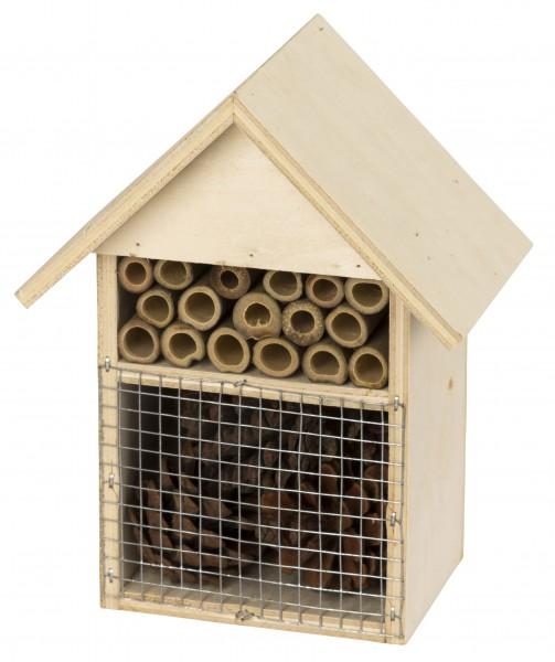 Insektenschutz-Haus, Insektenhotel als Nist- und Überwinterungshilfe aus naturbelassenem Holz