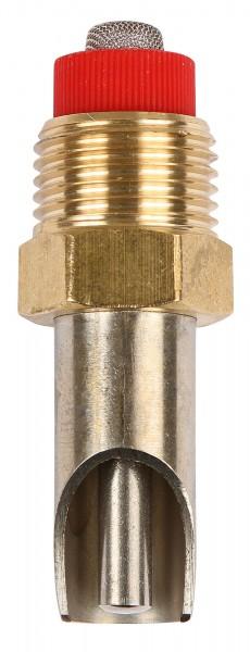 Beißnippel 55 mm, mit dünnem Druckkegel aus Edelstahl mit Messinggewinde und Edelstahlsieb