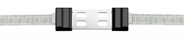 Bandverbinder Litzclip® verzinkt, Abbildung geöffneter Clip mit Weidezaunband