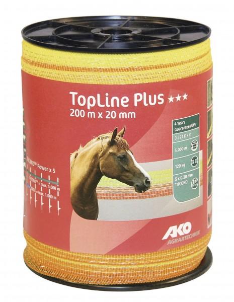 TopLine Plus Weidezaunband, 200 m, 20 mm breit, in der Farbe gelb/ orange
