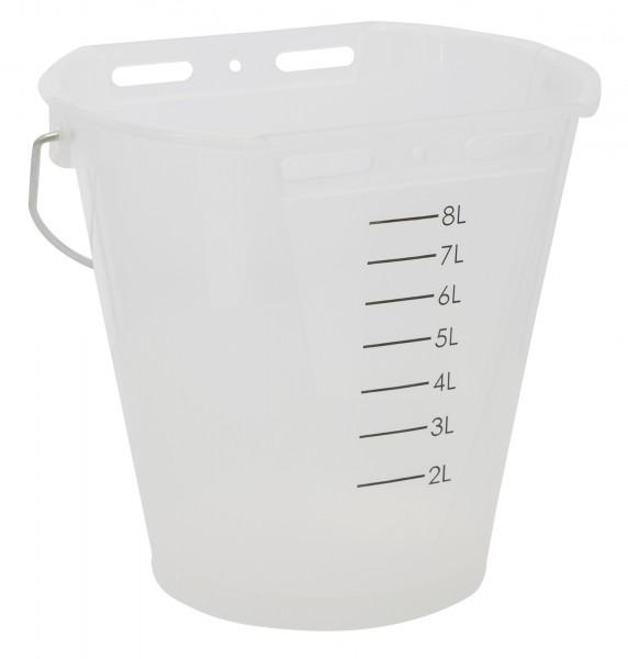 Tränkeeimer transparent weiß mit Füllskala, 8 Liter