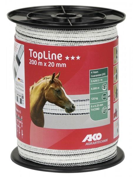 TopLine Weidezaunband mit einer Breite von 20 mm, Farbe weiß/ schwarz, 6 Leiter