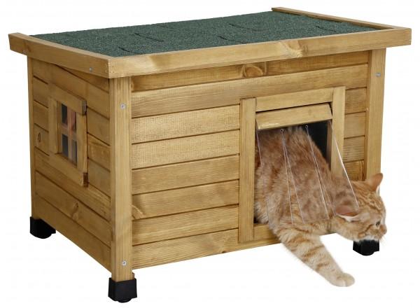 Katzenhaus Rustica aus hochwertiger Spießtanne, mit Plexiglasfenster und Schwingtüre