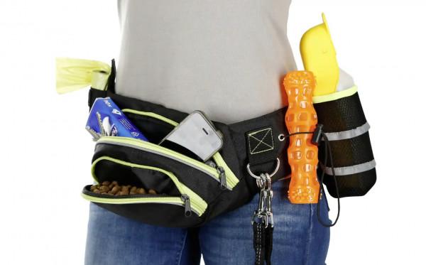 Trainings-Bauchgurt Active, mit zwei Reißverschlusstaschen, Kotbeuteltasche, D-Ring, elastischer Schlaufe und Trinkflaschentasche