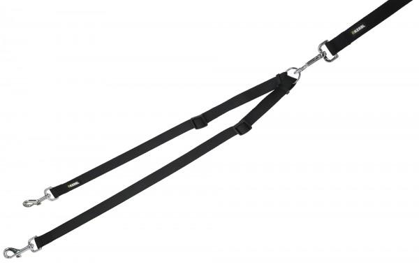 Koppel Miami, Doppelleine für 2 Hunde, Farbe schwarz, Länge 40-70 cm