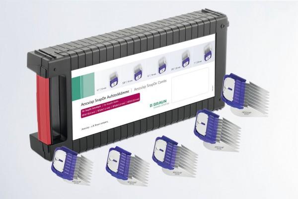 Aufsteckkamm-Set SnapOn für Aesculap, Schnittlängen: 13 mm, 16 mm, 19 mm, 22 mm und 25 mm