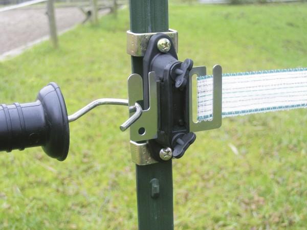 Bandtorgriffisolator Profi Set T-Post, Torgriffisolator Set mit Niroplatte geeignet für Weidezaunband