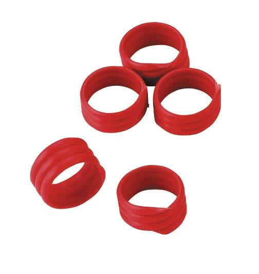 Spiralringe 16 mm in der Farbe rot, Ringe für Federvieh wie Puten, Fasane, Hühner