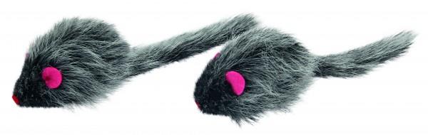 Kleine graue Fellmäuse Langhaar, gefüllt mit Cat Nip (Katzenminze) und Raschelfolie
