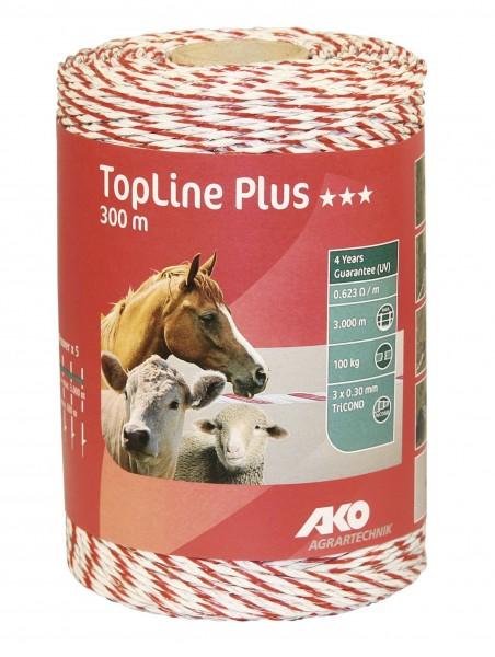 TopLine Plus Weidezaunlitze 300 m in der Farbe weiß/ rot für Zäune bis 3.000 Meter