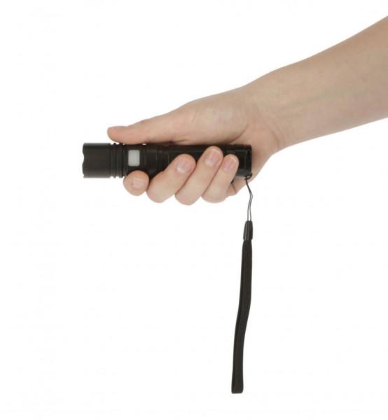 LED-Akkutaschenlampe MiniFire Akku mit praktischer Handschlaufe, Gehäuse schwarz