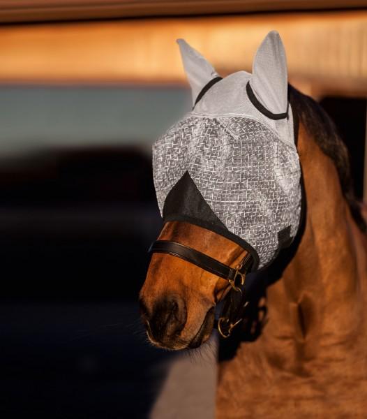 Fliegenmaske mit Ohrenschutz aus einem angenehmem, weichem und luftdurchlässigem Netzmaterial