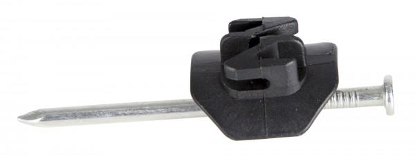 Nagelisolator mit 7 cm langem Nagel, schwarzer Isolator aus Kunststoff geeignet für Litze und Draht