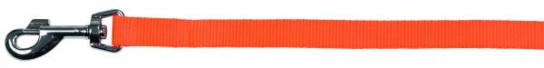 Leine mit Softgriff aus stabilem Nylongewebe in orange robuste Beschläge und Karabiner