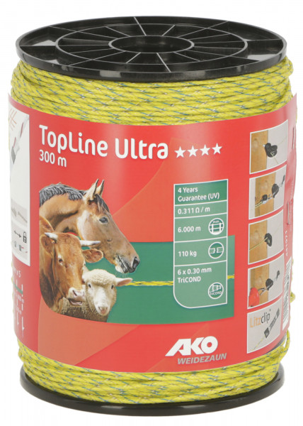 TopLine Ultra Weidezaunlitze, 300 m lang, Farbe: neongelb/blau, mind. 4 Jahre UV-Stabilität