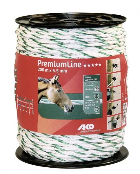PremiumLine Weidezaunseil in der Farbe weiß/ grün, mit verzinnten Kupferleiter und hoher Bruchlast
