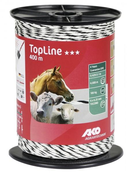 TopLine Weidezaunlitze in günstiger Ausführung, Farbe weiß/ schwarz