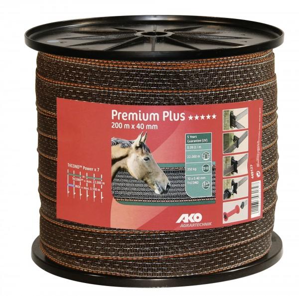 Premium Plus Weidezaunband, Litzenband 40 mm breit mit TriCOND, verstärkter Außenkante und Monofilfäden, Farbe braun/ orange