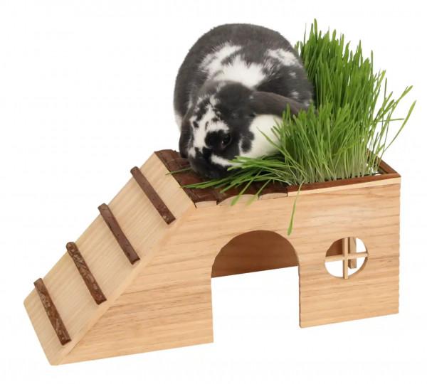 Nagerhaus mit Rampe Nature aus Naturholz, mit integriertem Futterplatz und Saatschale