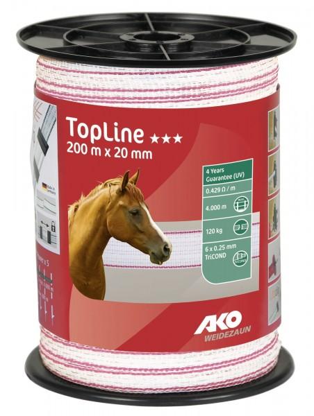 TopLine Weidezaunband mit einer Breite von 20 mm, Farbe weiß/ pink, 6 Leiter