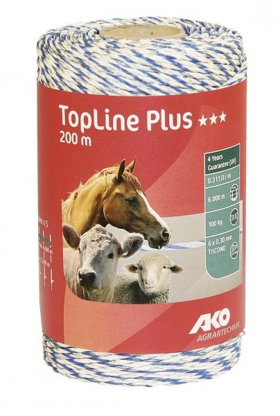 TopLine Plus Weidezaunlitze in der Farbe weiß/ blau, 200 m auf einem Pappkern