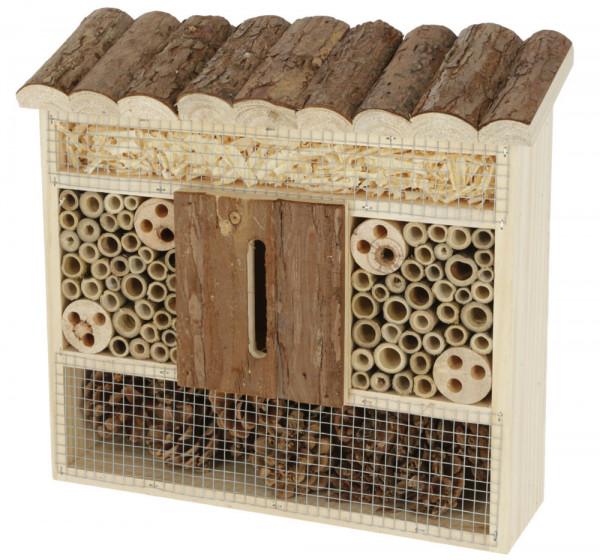 Insektenschutzhaus, Insektenhotel als Nist- und Überwinterungshilfe aus naturbelassenem Holz