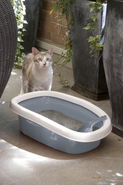Einfache Katzentoilette Sprint, Katzenklo extra hoch und mit Rand