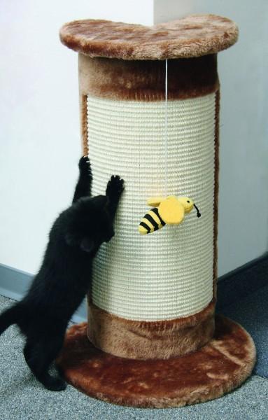 Kratzsäule Corner mit Biene am Band als Spielzeug, 58 cm hoch