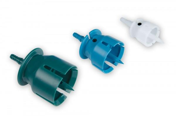 Entnahme-, Belüftungskappen-Set für Selbstfüllerspritzen mit Schlauchansatz