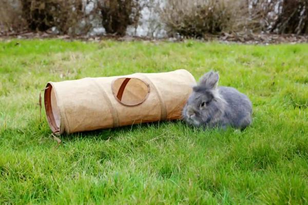 Tunnel aus Leinen für Kaninchen und Meerschweinchen, zum Spielen oder als Unterschlupf